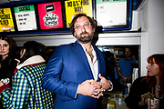 Eric Wareheim at a White Castle event launching their Impossible Burger menu option, shot for Business Insider in 2018.