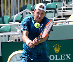 March 22, 2018 - Key Biscayne, FL, USA - Tennys Sandgren of the United States hits a return against Guillermo Garcia-Lopez of Spain in the first round of the Miami Open in Key Biscayne, Fla., on Thursday, March 22, 2018. (Credit Image: © Pedro Portal/TNS via ZUMA Wire)