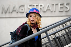 © Licensed to London News Pictures. 13/04/2018. London, UK. Transgender activist TARA WOLF arrives at Hendon Magistrates' Court in London where she is currently on trial for assaulting radical feminist Maria Maclachlan. Tara Wolf, 26, is accused of assault by beating on Maria MacLachlan, 61, during a demonstration at Speaker's Corner, Hyde Park on September 13, last year. Photo credit: Ben Cawthra/LNP