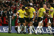 Leigh Halfpenny of Wales (l) celebrates after he scores the 1st half try. Invesco Perpetual series, autumn international, Wales v Samoa  at the Millennium stadium in Cardiff  on Friday 13th Nov 2009. pic by Andrew Orchard, Andrew Orchard sports photography.  .EDITORIAL USE ONLY
