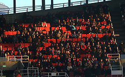 26 April 2016 London : Premier League Football : Arsenal v Leicester City :<br /> a sparsely populates section of the Emirates Stadium, during the first half.<br /> Photo: Mark Leech