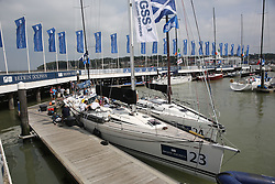 Brewin Dolphin Scottish Series 2014, an International IRC competition racing on the Solent off Cowes and hosted by the RORC.<br /> <br /> Team Scotland on the dock in Cowes Yacht Haven<br /> <br /> Credit: Marc Turner