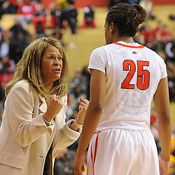 Rutgers Scarlet Knights head coach C. Vivian Stringer shows her frustration with Rutgers Scarlet Knights guard Briyona Canty (25) during second half NCAA Women's Basketball action between the Rutgers Scarlet Knights and Tennessee Lady Volunteers at the Louis Brown Athletic Center. Tennessee defeated Rutgers 67-61.