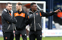 Blackpool's Joe Dodoo before kick off<br /> <br /> Photographer David Shipman/CameraSport<br /> <br /> The EFL Sky Bet League One - Luton Town v Blackpool - Saturday 6th April 2019 - Kenilworth Road - Luton<br /> <br /> World Copyright © 2019 CameraSport. All rights reserved. 43 Linden Ave. Countesthorpe. Leicester. England. LE8 5PG - Tel: +44 (0) 116 277 4147 - admin@camerasport.com - www.camerasport.com