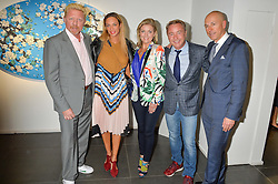 Left to right, BORIS BECKER, LILLY BECKER, NIAMH FLATLEY, MICHAEL FLATLEY and DYLAN JONES at a private view of woks by German artist Mike Dargas held at the Opera Gallery, 134 New Bond Street, London on 5th July 2016.