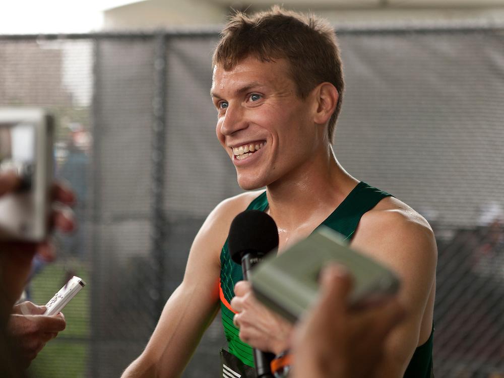 adidas Grand Prix Diamond League professional track & field meet: mens 5000 meters, Ben True, USA