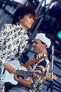 Chrissie Hynde of the Pretenders performs at Live Aid 1985