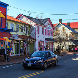 St. Michaels, MD, USA - March 30, 2013: Some of the shops and stores in St Michaels, MD along the town's main street.