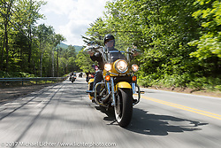 Jack Dunbar riding his 1994 Harley-Davidson Road Glide Police Special on the Bikes Only day up 6,289 foot Mount Washington during Laconia Motorcycle Week, New Hampshire, USA. Thursday June 15, 2017. Photography ©2017 Michael Lichter.
