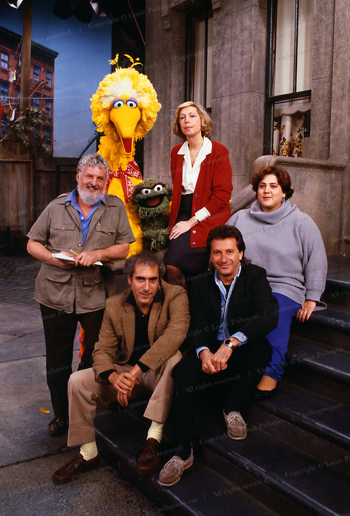 Joan Cooney with Muppet stars from Sesame Street, the show she founded in 1969