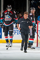 KELOWNA, CANADA - SEPTEMBER 28: Athletic therapist, Scott Hoyer runs back to the bench after examining Michael Herringer #30 of Kelowna Rockets after a collision with a player of the Prince George Cougars on September 28, 2016 at Prospera Place in Kelowna, British Columbia, Canada.  (Photo by Marissa Baecker/Shoot the Breeze)  *** Local Caption *** Scott Hoyer;