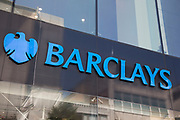 Sign for the brand and high street bank Barclays in Birmingham, United Kingdom.