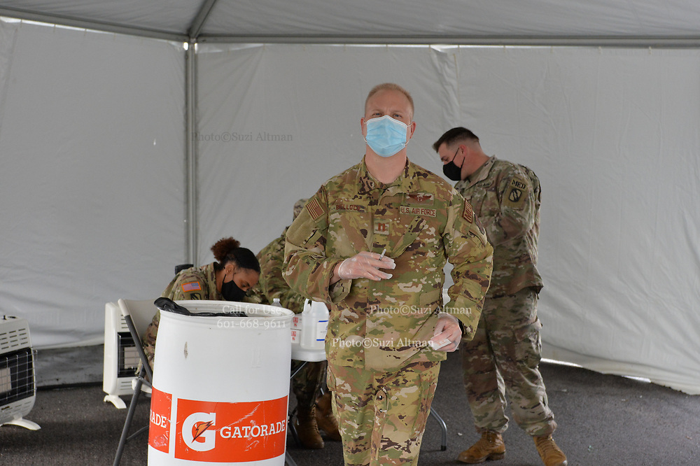 Pearl, MS 1/25/21 Covid Vaccines are being administered at the Trustmark Ball Park by the Mississippi National Guard. The hotline to register for a vaccine has been opened to people with underlying conditions and 65 and older. Photo © Suzi Altman Covid Vaccine