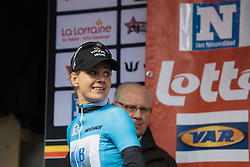 Emma Johansson makes her first of three podium appearances. After finishing second, defending the lead in the mountains classification and taking the lead in the Lotto Cycling Cup series - Le Samyn des Dames 2016, a 113km road race from Quaregnon to Dour, on March 2, 2016 in Hainaut, Belgium.