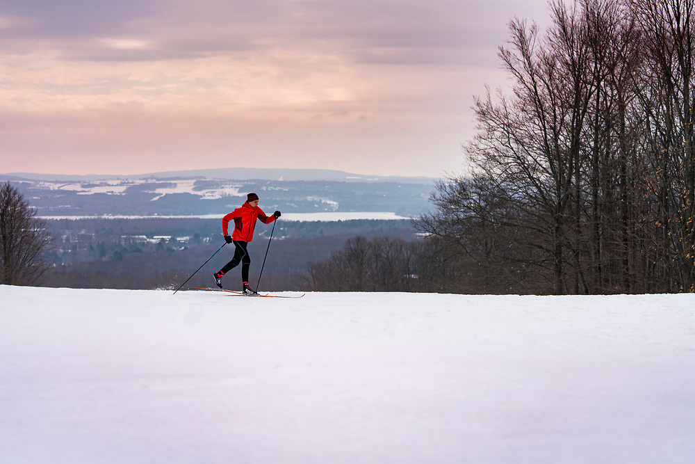 Cross country skiing at the Offield Family Nature Preserve near Petoskey, Michigan.