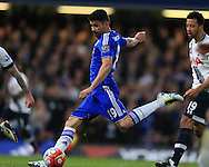 Diego Costa of Chelsea in action. Barclays Premier league match, Chelsea v Tottenham Hotspur at Stamford Bridge in London on Monday 2nd May 2016.<br /> pic by Andrew Orchard, Andrew Orchard sports photography.