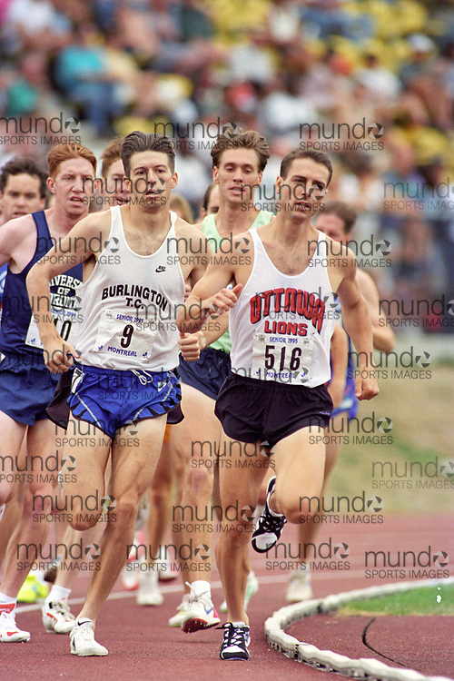 (Montreal, Canada---28 July 1995) Richard Charette leads the 1500m final with Graham Hood (9) and Kevin Sullivan (10) on his shoulder at the 1995 Canadian National Track and Field Championships. Photo 1995 Copyright Sean Burges / Mundo Sport Images.