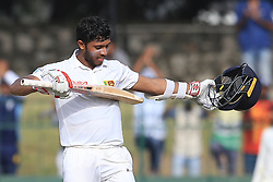 August 5, 2017 - Colombo, Sri Lanka - Sri Lankan cricketer Kusal Mendis celebrates after scoring a century (100 runs) the 3rd Day's play in the 2nd Test match between Sri Lanka and India at the SSC international cricket stadium at the capital city of Colombo, Sri Lanka on Saturday 5th August 2017. (Credit Image: © Tharaka Basnayaka/NurPhoto via ZUMA Press)