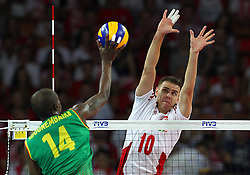 06.09.2014, Jahrhunderthalle, Breslau, POL, FIVB WM, Kamerun vs Polen, Gruppe A, im Bild (P) MARIUSZ WLAZLY BLOK // during the FIVB Volleyball Men's World Championships Pool A Match beween Cameroon and Poland at the Jahrhunderthalle in Breslau, Poland on 2014/09/06. <br /> <br /> <br /> ***NETHERLANDS ONLY***