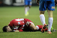 Adam Buxton (Accrington Stanley) down having been fouled during the Sky Bet League 2 match between Accrington Stanley and Hartlepool United at the Fraser Eagle Stadium, Accrington, England on 19 January 2016. Photo by Mark P Doherty.