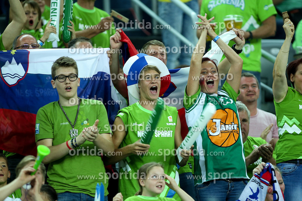 Fans of Slovenia during basketball match between Slovenia vs Netherlands at Day 4 in Group C of FIBA Europe Eurobasket 2015, on September 8, 2015, in Arena Zagreb, Croatia. Photo by Matic Klansek Velej / Sportida