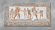 3rd century AD Roman mosaic panel of a drinking scene from Dougga, Tunisia.  The Bardo Museum, Tunis, Tunisia. Grey background .<br /> <br /> If you prefer to buy from our ALAMY PHOTO LIBRARY  Collection visit : https://www.alamy.com/portfolio/paul-williams-funkystock/roman-mosaic.html - Type -   Bardo    - into the LOWER SEARCH WITHIN GALLERY box. Refine search by adding background colour, place, museum etc<br /> <br /> Visit our ROMAN MOSAIC PHOTO COLLECTIONS for more photos to download  as wall art prints https://funkystock.photoshelter.com/gallery-collection/Roman-Mosaics-Art-Pictures-Images/C0000LcfNel7FpLI