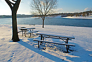 Winter Snow, Berks Co., PA Scene Blue Marsh Lake Winter Snow, Picnic Tables and Bench