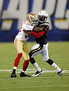 San Francisco 49ers cornerback Rashard Robinson (33) puts bump and run pass coverage on San Diego Chargers wide receiver Isaiah Burse (9) during the 2016 NFL preseason football game against the San Diego Chargers on Thursday, Sept. 1, 2016 in San Diego. The 49ers won the game 31-21. (©Paul Anthony Spinelli)