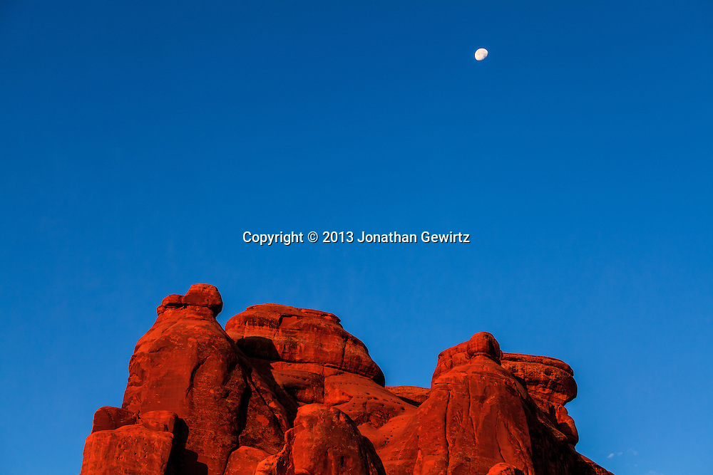 The rising sun illuminates red rocks in Arches National Park, Utah. WATERMARKS WILL NOT APPEAR ON PRINTS OR LICENSED IMAGES.