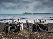 30 JULY 2013 - KOH SAMET, RAYONG, THAILAND:   Workers clean up Ao Prao beach on Koh Samet island. About 50,000 liters of crude oil poured out of a pipeline in the Gulf of Thailand over the weekend authorities said. The oil made landfall on the white sand beaches of Ao Prao, on Koh Samet, a popular tourists destination in Rayong province about 2.5 hours southeast of Bangkok. Workers from PTT Global, owner of the pipeline, and up to 500 Thai military personnel are cleaning up the beaches. Tourists staying near the spill, which fouled Ao Prao beach, were evacuated to hotels on the east side of the island, which was not impacted by the spill. PTT Global Chemical Pcl is part of state-controlled PTT Pcl, Thailand's biggest energy firm.    PHOTO BY JACK KURTZ