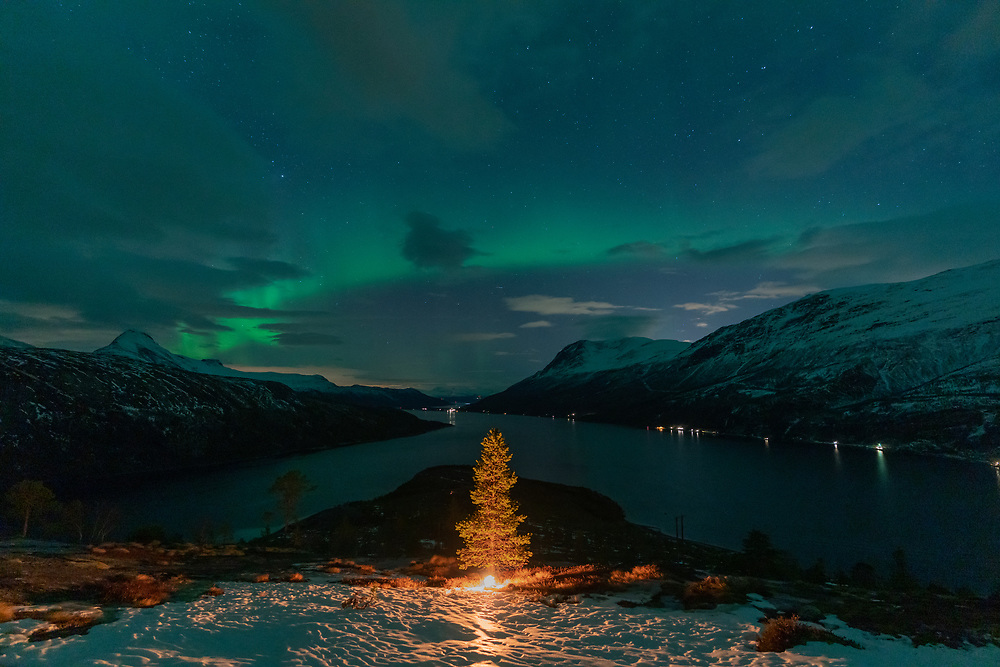 Opplyst «juletre» og hint av nordlys sett fra Reinneset i Skjomen, Narvik.
