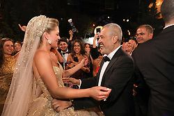 Elie Saab and bride Christina Mourad seen at Elie Saab Jr (Fashion designer Elie Saab's son) and Christina Mourad wedding, in Faqra, Lebanon on July 19, 2019. The wedding is among the most incredible weddings of 2019, included four wedding outfits, over a million sequins and 1,200 guest. Photo by Balkis Press/ABACAPRESS.COM