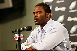 Philadelphia Eagles quarterback Michael Vick speaks during the post game press conference after the NFL game between the Kansas City Chiefs and the Philadelphia Eagles on September 27th 2009. The Eagles won 34-14 at Lincoln Financial Field in Philadelphia, Pennsylvania. (Photo By Brian Garfinkel)