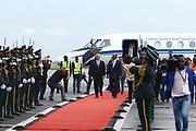 Marcelo Rebelo De Sousa, Presidente da Republica Portuguesa, recebido pelo Ministro das Relações Exteriores de Angola, Manuel Nunes Silva, no aeroporto de Luanda. O PR português efectua uma Visita de Estado a Angola, de 5 a 9 de Março.