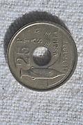 Spanish peseta coin 25 centimos pre Euro currency