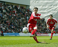 Photo: Chris Ratcliffe.<br />Leyton Orient v Peterborough United. Coca Cola League 2. 29/04/2006.<br />Matthew Lockwood of Orient scoring from the spot to make it 1-0.