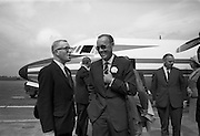 09/08/1967<br /> 08/09/1967<br /> 09 August 1967<br /> His Royal Highness Prince Bernhardt of the Netherlands arrival at Dublin Airport. The prince arrived from Paris on his own private plane to attend the RDS Horse Show in Dublin. Photo shows Prince Bernhardt (right) in holiday mood with John E. Wylie, Secretary of the Royal Dublin Society on arrival at Dublin Airport.