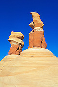 Afternoon light on colorful rock formations at Devil's Garden, Grand Staircase-Escalante National Monument, Utah