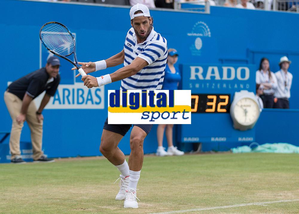 Tennis - 2017 Aegon Championships [Queen's Club Championship] - Day Four, Thursday <br /> <br /> Men's Singles: Round of 16 - Daniil MEDVEDEV (RUS) Vs Thanasi KOKKINAKIS (AUS)<br /> <br /> Feliciano Lopez (SPA) with a back hand return at Queens Club<br /> <br /> COLORSPORT/DANIEL BEARHAM
