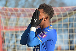 Leicester City's Demarai Gray reacts as his shot stopped by Fleetwood Towns' Chris Neal (not pictured)