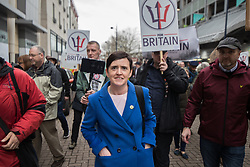 © Licensed to London News Pictures . 24/03/2018. Birmingham, UK. For Britain party leader ANNE-MARIE WATERS at a Football Lads Alliance demonstration against Islam and extremism in Birmingham City Centre . Offshoot group, The True Democratic Football Lads Alliance, also hold a separate demonstration . Photo credit: Joel Goodman/LNP
