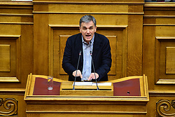 December 18, 2018 - Athens, Attiki, Greece - Euclid Tsakalotos Minister of Finance of Greece during his speech in Hellenic Parliament. (Credit Image: © Dimitrios Karvountzis/Pacific Press via ZUMA Wire)