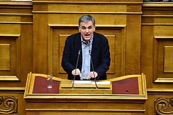 December 18, 2018 - Athens, Attiki, Greece - Euclid Tsakalotos Minister of Finance of Greece during his speech in Hellenic Parliament. (Credit Image: © Dimitrios Karvountzis/Pacific Press via ZUMA Wire)
