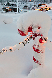"""""""Snowy Candy Cane in Truckee"""" - This snow covered Christmas candy cane was photographed in historic Downtown Truckee, CA."""