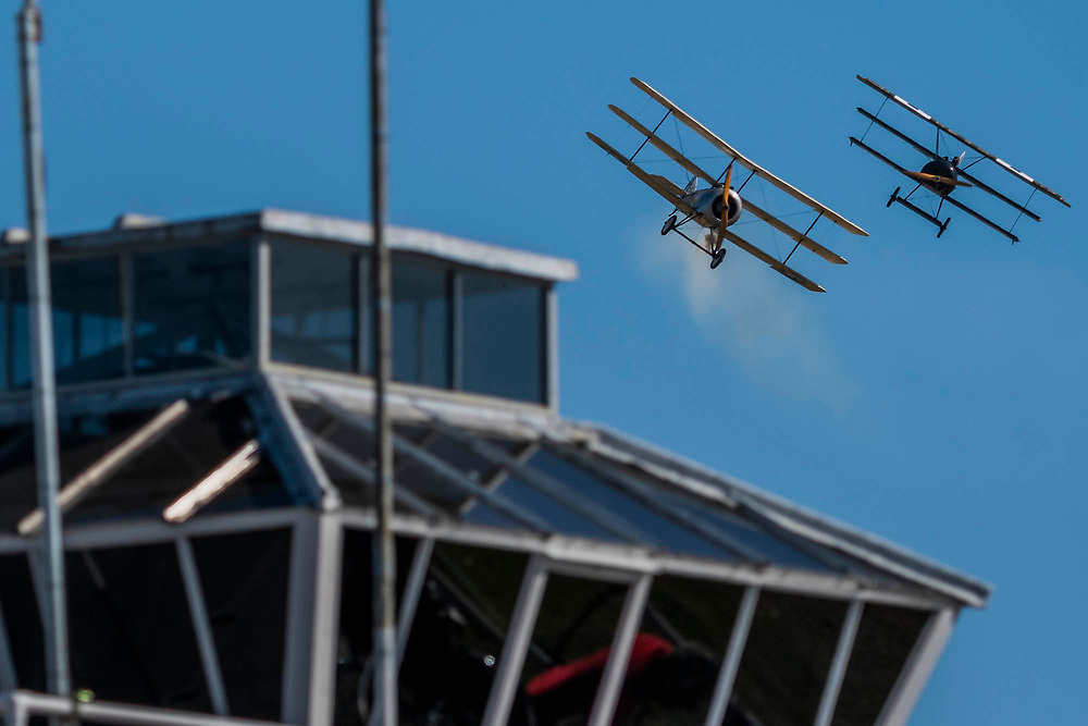The Bremont Great War Display team simulate aerial combat in replica World War 1 planes - Duxford Battle of Britain Air Show at the Imperial War Museum. Also commemorating the 50th anniversary of the 1969 Battle of Britain film. It runs on Saturday 21 & Sunday 22 September 2019