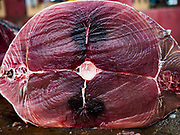 08 OCTOBER 2017 - NEGOMBO, WESTERN PROVINCE, SRI LANKA: A cross section of yellowfin tuna in Negombo, north of Colombo. Fish is an important source of protein for many Sri Lankans.    PHOTO BY JACK KURTZ