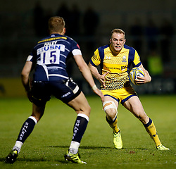 Perry Humphreys of Worcester Warriors takes on Mike Haley of Sale Sharks - Mandatory by-line: Matt McNulty/JMP - 07/04/2017 - RUGBY - AJ Bell Stadium - Sale, England - Sale Sharks v Worcester Warriors - Aviva Premiership