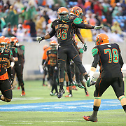 Linebacker David Phanor (46) celebrates during the Florida Classic NCAA football game between the FAMU Rattlers and the Bethune Cookman Wildcats at the Florida Citrus bowl on Saturday, November 22, 2014 in Orlando, Florida. (AP Photo/Alex Menendez)