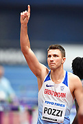 Andrew Pozzi (GBR) salutes the crowd after winning his Semi Final of the Men's 60m Hurdles in a seasons best time of 7.46 during the final session of the IAAF World Indoor Championships at Arena Birmingham in Birmingham, United Kingdom on Saturday, Mar 2, 2018. (Steve Flynn/Image of Sport)