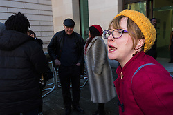 "Anti-transgender feminist Venice Allan, 42, shouts at a group of of transgender rights activists demonstrate outside Westminster Magistrates' Court to ""Free the Shewolf"", Tanis Jacob Wolf / aka Tara Flik Wood who is facing a charge of assault by beating of a 60 year old woman at Speaker's Corner in Hyde Park, London in September 2017.<br /> <br /> Wolf/Wood, 26, entered a plea of not guilty and was bailed to appear at Hendon Magistrates' Court in two months' time. London, February 15 2018."